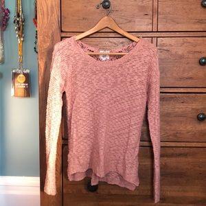 Dusty rose knit sweater, lace back